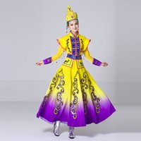 Wholesale singer dance clothing - New design long Mongolian Dance clothing ethnic minority dress Chinese performance Folk Dance apparel Stage Costumes for Singers