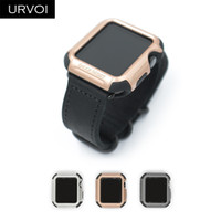 корпус брони оптовых-URVOI Cover  series 3 2 1 PC case strap tough armor Silicone full protector  metal color design 38 42mm