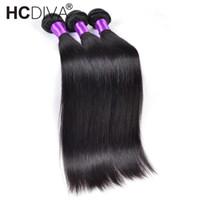 наращивание волос 22 inch black оптовых-Норковые бразильские прямые волосы плетения пучки человеческих волос 3 и 4 или 5 пучков 8-32 дюймов натуральный черный Реми наращивание волос Hcdiva утки