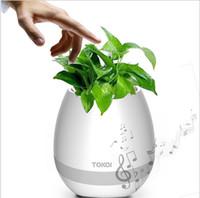 articles de jeux d'eau achat en gros de-Pot de fleurs de musique Smart pot de fleurs sans fil haut-parleur Flowerpot Touch Plant jouer de la musique avec la lumière de nuit sans plante cadeau d'anniversaire pour les enfants