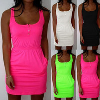 Wholesale fluorescent yellow color - Plus Size S-5XL 2018 Attractive Women Dress Color Fluorescent Elastic Waist Lady Casual Sleeveless Summer Beach Dresses