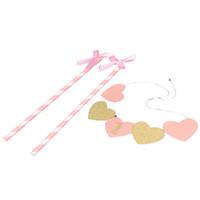 ingrosso baby girl topper-1 SET Baby Girl Primo Compleanno Oro Rosa Cartone Cuore Cake Glitter Topper con decorazione del partito Bowknot