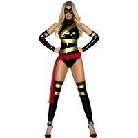 сексуальный черный костюм супер героя оптовых-Сексуальные женщины мультфильм фильм Супер Герой косплей боди костюм Черный Хэллоуин ПВХ супергерой равномерное американский аниме ниндзя костюм