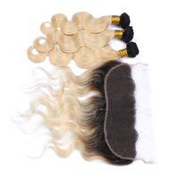 613 fermeture frontale blonde achat en gros de-Brésilienne Blonde Ombre Cheveux Avec Dentelle Frontale Fermeture 13x4 Corps Vague 1B 613 Deux Tons Colorés Cheveux Brésiliens 3bundles Avec Frontaux