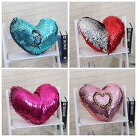 ingrosso cuore del cuscino-Cuore Paillettes Pillows Case Love Pillow Cover 35 * 40cm Cuscino Divano Nap Cuscino Copre la decorazione della casa 5 stili