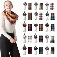 Wholesale infinity circle scarves for sale - 87 CM styles Knit Tartan Plaid Infinity Scarf Women Loop Bandana Cashmere Neck Circle Scarf Grid Snood Scarves FFA991