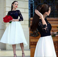 siyah beyaz nedime elbiseler kısa toptan satış-Bir Çizgi Hi-Lo Kısa Ön Uzun Geri 3/4 Kollu Dantel Nedime Elbisesi Beyaz Siyah Saten Gelinlikler Mütevazı Çay Boyu Bağbozumu