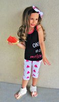 Wholesale Baby Girls Tshirts - Baby Childrens Clothing Set Letters tshirts Pants Headbands Set Fashion Summer Girl Kids Tops Suits Boutique Clothes Outfits BY0122-9