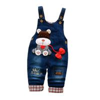 мальчики джинсы брюки общий оптовых-Cola Baby boys Jeans Pants Spring Kids clothing Cute Bib Pants Overalls Infant Girl Boy clothes Strap Haren Leisure Pants