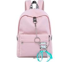 cadena de moda con cordón al por mayor-Moda impermeable nylon mujer mochila coreano personalidad cordón cadenas de lazo diseño College Girls Bookbags Bagpack