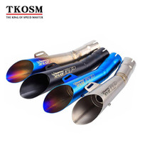 sistemas de escape al por mayor-TKOSM Motocicleta GP HP Tubo de escape Silenciador Bicicleta Motorcross Scooter Escape Akrapovic Sistema de escape modificado GY6 para Yamaha YZF R6 Escape