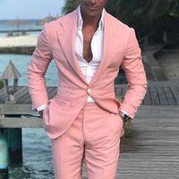 pajarita rosada para hombre al por mayor-El último diseño de un botón, color de rosa, boda, novios, esmoquin, muesca, solapa, padrinos de boda, hombres, trajes de chaqueta (chaqueta + pantalón, pajarita) NO: 1625