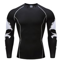 Wholesale plus size compression sleeves resale online - Punisher Mma T Shirts Compression Tops Mens Long Sleeves Top Crossfit Fitness Base Layer Weight Lifting Clothes Plus Size S XL