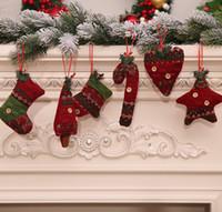 ingrosso artigianato decorativo di natale-Xmas Knitted Candy Cane Ornament Christmas Tree Pendant Drop Ornamenti Decorazioni Mini bastone di canna Craft Star Xmas Tree Decor
