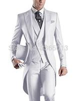 ingrosso vestito blu vestito grigio uomini-Abiti da sposa per uomo Bianco Blu Nero Grigio Abito lungo uomo 2018 Ultimo cappotto Pant Design Costume Homme Abito formale sposo Frac