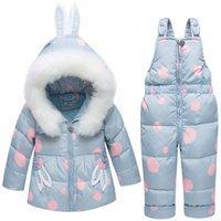 ingrosso cappotti di inverno cute della neonata-Baby Winter Clothing Sets Duck Down Tute Giacche da donna calde + Overall Boys Snow Suit Bambini Cute Coat Kids Capispalla antivento