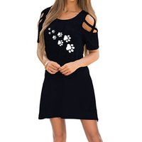 Wholesale ladies plus size clothing cheap online - Hot Womens Clothing Printed Footprint Casual Fashion Dress Ladies Sexy Short Sleeves Plus Size Clothes Dresses Cheap