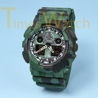 Wholesale army watch alarm resale online - Cheap Dual Display Sports Watch Black Display LED Digital Fashion Army Military Shocking Resistant Casual Men Wristwatches With Alarm