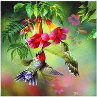 diy elmas boyama çapraz dikiş çiçekler toptan satış-DIY Elmas Manzara Boyama Kitleri Kuşlar Çiçekler Delinmiş Çizim Çapraz Dikiş Ev Dekorasyon Nakış Sanatlar El Sanatları Hediyeler 9bm bb