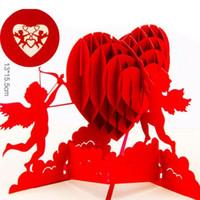 ingrosso pop up card 3d cuore-Cuore biglietto di auguri 3D pop-up carta taglio laser cartolina compleanno San Valentino regalo per invito matrimonio amante ZA5975