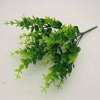 ingrosso muro di bonsai-Simulazione di plastica fiore artificiale foglia verde falso verde piantare bonsai appeso a parete arredamento per la casa cerimonia di nozze decorazioni per la casa 1 3ym bb