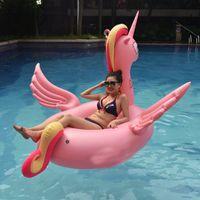 decorações de festa para piscina venda por atacado-Projeto Unicórnio Anel De Natação Oversize Pegasus Forma Flutuadores Infláveis Para Festa Na Piscina Decoração Flutuante Mat Venda Quente 95 hm Z