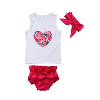 bc8836104fe1 Toddler Baby Kids Girls Clothes Set Summer Sleeveless Heart Watermelon Top  Shorts Headband Outfits Cotton Girl Casual Cute 3Pcs