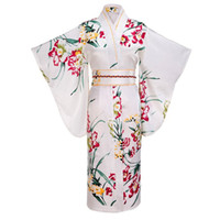 ingrosso yukata bianco-Kimono di seta giapponese di tradizione delle donne di tradizione yukata del rayon con il vestito da sera del costume di Cosplay dell'annata del fiore di Obi. Taglia unica