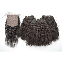 ingrosso chiusura umana di tessuto ricci-Chiusura con base di seta con pacchi Estensioni non trattate dei capelli umani Capelli crespi crespi brasiliani Tesse chiusura G-EASY
