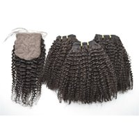 Wholesale human hair weave silk base closure for sale - Group buy Silk Base Closure With Bundles Unprocessed Human Hair Extensions Brazilian Kinky Curly Hair Weaves Closure G EASY