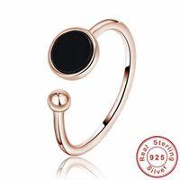 ônix preto subiu anel de ouro venda por atacado-Anéis De Ônix Preto Rodada Bola De Cor de Ouro rosa Para As Mulheres 925 Anel Aberto de Prata