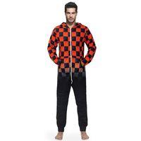 olanlar yetişkinler için pijamalar toptan satış-Erkekler Sıcak Teddy Polar Onesie Kabarık Uyku Salonu Yetişkin Pijama Tek Parça Pijama Erkek Tulumlar Kapşonlu Onesies Erkekler Pijama Gecelik