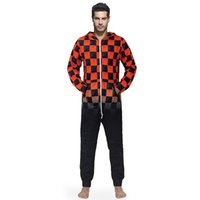 erwachsene fleece-overalls großhandel-Männer Warm Teddy Fleece Onesie Fluffy Schlaf Lounge Erwachsene Nachtwäsche Einteilige Pyjamas Male Overalls Mit Kapuze Onesies Männer Pyjamas Nachthemd