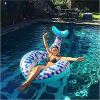 Wholesale inflatable ring floats online - Diemeter cm cm Inflatable Mermaid Tail Swimming Ring Pool Floats Large Outdoor Beach Swimming Pool Floats Floating AAA535