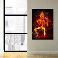скелетные части оптовых-HD печать 1 шт. холст Живопись пение сжигание скелет череп плакаты стены искусства фотографии для гостиной домашнего декора