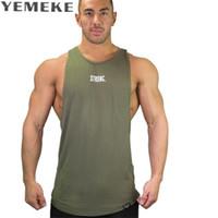 Wholesale Men Underwear Sexy Grey - Wholesale- YEMEKE Men Tank Tops Cotton Summer Male Underwear Sleeveless Vest Breathable Flexible Casual Gilet Black grey green Brand