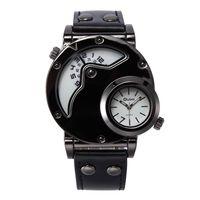 уникальные часовые пояса оптовых-Мужские уникальные аналоговые часы, Aposon Fashion Dress Кварцевые наручные часы с двойным циферблатом Прохладный дизайн Кожаный ремешок с двумя часами