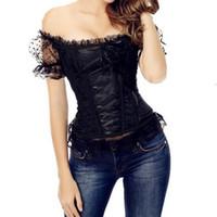 ingrosso body shaper strapless corset-Sexy donna Lace Up Off spalla Corsetto Overbust Bustier senza spalline Top Slim Trainer corpo Body Shaper FS99