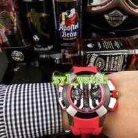 homens assistem esportes grandes venda por atacado-47mm Grande Mostrador Vermelho Pulseira De Borracha À Prova D 'Água Assista Top Tendência Da Moda dos homens Relógio Esportivo Frete Grátis