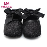 Wholesale Leather Shoe Soles For Sale - hot sale Black Pu leather baby shoes first walkers Glitter Anti-slip Soft Sole Newborn Boys Girls Shoes FOR 0-18 Months Baby #JY