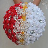 gelin düğün buketi mor toptan satış-Yapay Düğün Buketleri Güller Şerit Çiçekler Kristal Rhinestone Gelin Düğün Buket Kırmızı Mor Nedime El Yapımı Düğün Aksesuarları