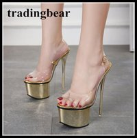 Wholesale cut out back wedding dress - 16cm Super platform sling back thin high heels gold transparent PVC shoes black party club wear size 34 to 40