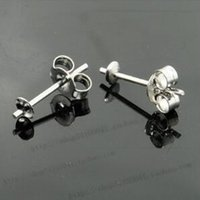 Wholesale earring posts wholesale - 925 Sterling Silver Earrings Setting 3mm 5mm Stud Earring Post Cup Pin Pearl Setting Findings DIY Earrings Settings 2 Colors 10pair lot