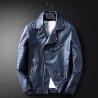 Wholesale Korean Motorcycle Leather Jacket Men - Man Tight Fitting Jackets Korean Autumn And Winter New Pu Leather Motorcycle Jacket Quality Stand Collar Coat