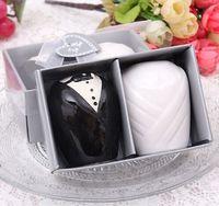 ingrosso sposo sposa sposa sposa sposo-Regalo di favore di cerimonia nuziale Tuexdo di ceramica Vestito da sposa Sposo Sale Pepe Shaker Spice Jar Creativo Souvenir del partito