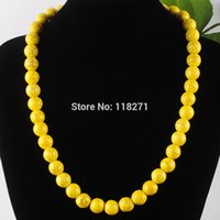 Wholesale Wholesale Howlite - whole saleFree shipping Yellow Howlite Gem Stone Round 10mm Beads Necklace Strand 17 Inches Jewelry PF3044