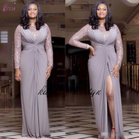 Wholesale front back collars resale online - New Design African Plus Size Evening Dresses Sequins Long Sleeves Front Split Chiffon Sheath Custom Made Women Formal Wear Party Prom Gowns