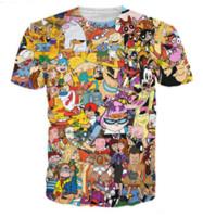 camisas do personagem de banda desenhada venda por atacado-90 s Dos Desenhos Animados Camisetas Nova Moda Das Mulheres Dos Homens 3D Personagem T-shirt Casual Camiseta 3D Impressão Camiseta Tops DC015