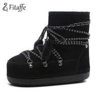 Wholesale long lace slip - Fitaffe Women's Snow Boots Lacing Long Plush Warm Winter Botas Mujer Ladies Cow Suede Ankle Boots Shoes Woman Zapatos MujerGD086