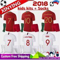 Wholesale red mario - FREE Ship kids kits socks new 2018 Jerseys BERNARDO SILVA GOMES Filhos soccer Jersey home away GUEDES MARIO ANDRE red Football Shirt